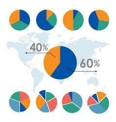 pie charts circle diagram business element vector image
