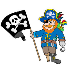 pirate with flag vector image