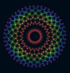 Rainbow flower life on black background vector