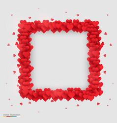 Rectangle photo frame made many hearts vector