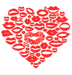 Red lips set in heart vector