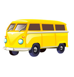 Retro travel yellow van isolated on white vector