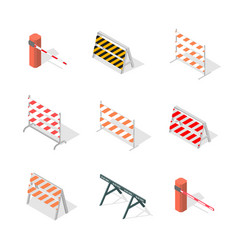 Road traffic barrier isometric vector