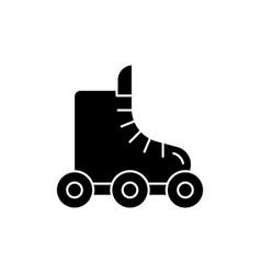 Rollerskate black glyph icon vector