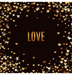 Romantic golden heart background vector