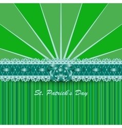 Saint Patricks Day design with lacy green ribbon vector image