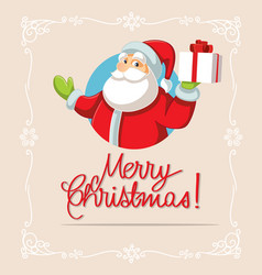 Santa claus holding christmas gift vector