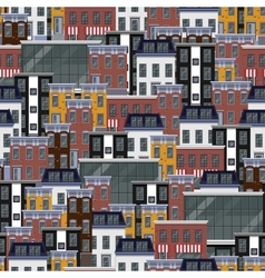 Seamless flat pattern with different city vector