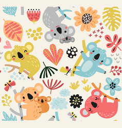 seamless pattern with a koala vector image