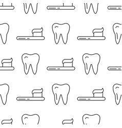 seamless pattern with teeth an toothbrushes vector image