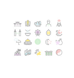set line icons singapore vector image