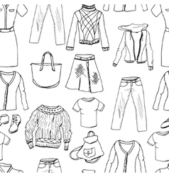 Set of casual woman clothes Seamless pattern vector