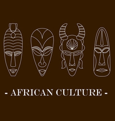 set of four traditional african masks vector image