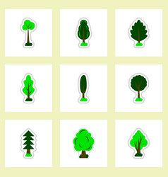 Set of labels with shadow leafs icon design vector
