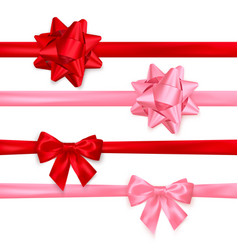set realistic shiny red and pink bows vector image