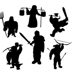 silhouettes of medieval male characters vector image