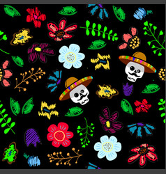 skull in the floral garden holiday vector image
