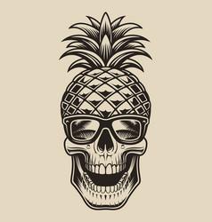 Skull pineapple vector