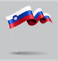 slovenian pin wavy flag vector image vector image