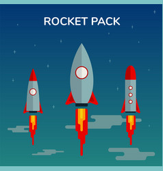 Space rocket start up pack and launch symbol new vector