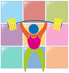 Sport icon design for weightlifting in color vector