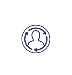 Staff rotation icon on white vector