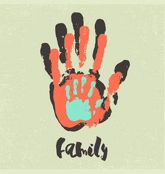 Stylish poster with family handprints vector