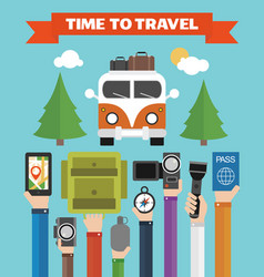 time to travel modern flat background with hand vector image
