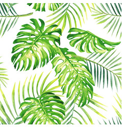 tropical plants watercolor summer seamless vector image