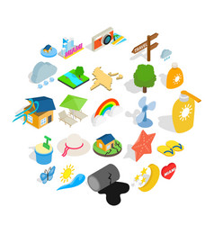 tropical rain icons set isometric style vector image