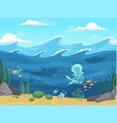underwater seamless 2d game water landscape with vector image