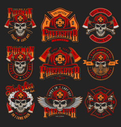 Vintage firefighting colorful emblems set vector
