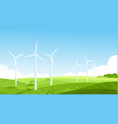 Wind turbines on meadow flat vector