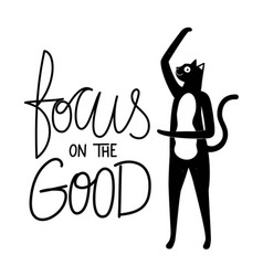 with black cat grunge dots and lettering slogan vector image