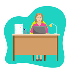 woman secretary at the desk with a pile of papers vector image