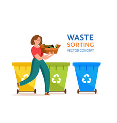 Young woman throwing glass garbage into containers vector
