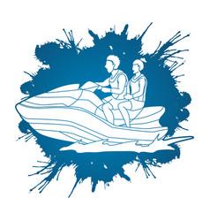 couple riding jet ski vector image vector image