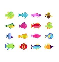 Cute fish icons set vector