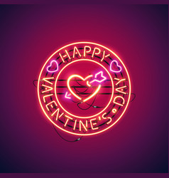 happy valentines day with arrowed heart neon sign vector image vector image