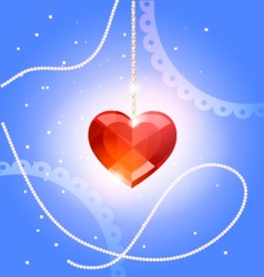 pendant heart crystal vector image