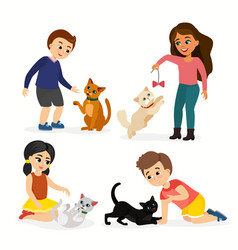 set of children and cats vector image vector image