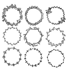 collection of hand drawn laurel wreaths isolated vector image