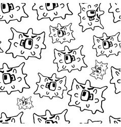 Doodle bacteria germs or cartoon monsters hand vector