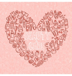 doodle cosmetic products heart shaped background vector image vector image