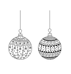 hand drawn doodle christmas ball toy with thread vector image