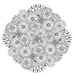 unique mandala with flowers ornamental round vector image vector image