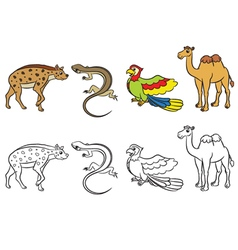 animal set hyena lizard parrot camel vector image