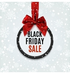 Black Friday round banner with red ribbon vector image