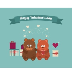 Lovers and happy bears with hearts vector image
