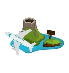tropical island and airplane icon vector image vector image